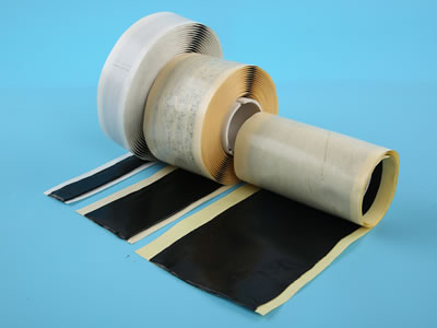 There are three rolls of double sided butyl tape are lying on the blue background, The fine size is on the left, the wide size is on the right.