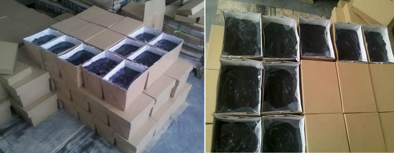 Each block shape butyl sealant wrapped with plastic film and has an independent carton box, pile up orderly in the factory.