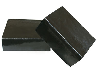 Two pieces of black block shape butyl sealant, and one side of black butyl sealant is put on the other butyl sealant.