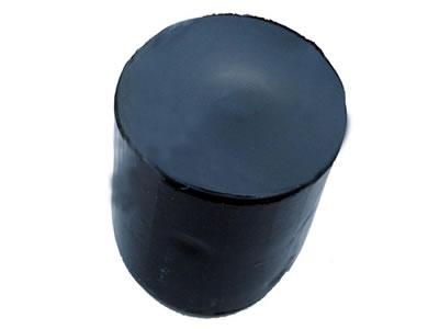 Overlooking view of a piece of tubbiness black butyl sealant.
