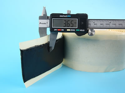 Thickness of butyl sealant tape is measured by the calipers, and the number is 3.65 mm.