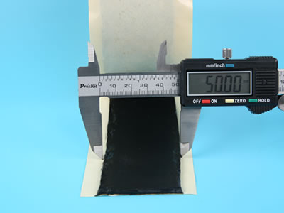 Use the calipers to measure the width of butyl tape, and the number is 50.00 mm.
