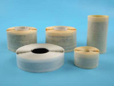 There are five types butyl tapes in different sizes, and they are put on the blue background.